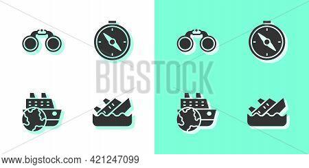 Set Sinking Cruise Ship, Binoculars, Cruise And Compass Icon. Vector