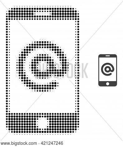 Smartphone Address Halftone Dot Icon Illustration. Halftone Array Contains Round Points. Vector Illu