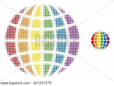 Lgbt World Halftone Dot Icon Illustration. Halftone Array Contains Circle Dots. Vector Illustration