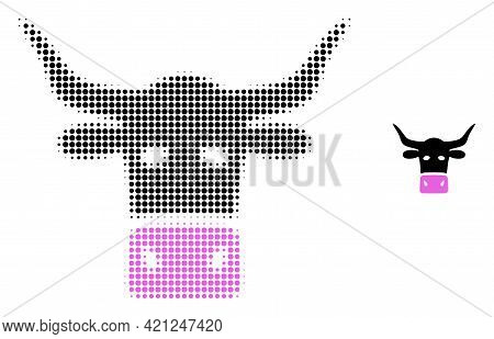Livestock Head Halftone Dotted Icon Illustration. Halftone Array Contains Round Pixels. Vector Illus