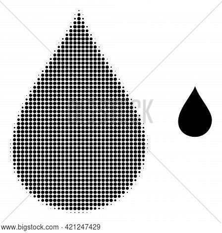 Oil Drop Halftone Dot Icon Illustration. Halftone Pattern Contains Circle Points. Vector Illustratio