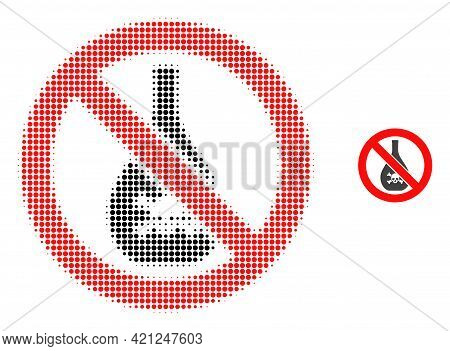 Forbidden Chemicals Halftone Dotted Icon Illustration. Halftone Pattern Contains Circle Dots. Vector