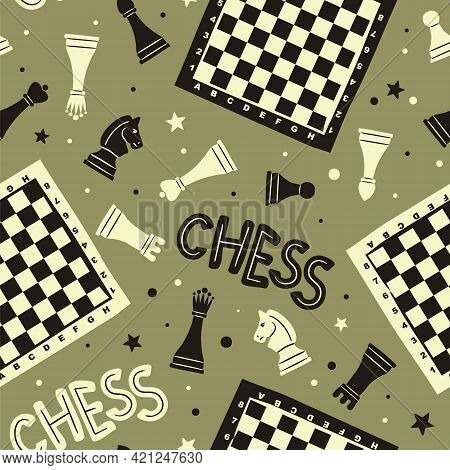 Seamless Doodle Pattern With Chess Pieces, Checkerboards And Stars. Sports Background In A Hand Draw