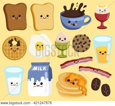 Set Of Cute Breakfast Vector Set. Kawaii Smiling Happy Face Food Icon Illustration. Breakfast Food A
