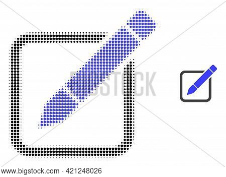 Edit Pencil Halftone Dotted Icon Illustration. Halftone Array Contains Round Elements. Vector Illust