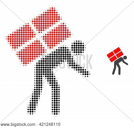 Refugee Halftone Dotted Icon Illustration. Halftone Array Contains Round Dots. Vector Illustration O