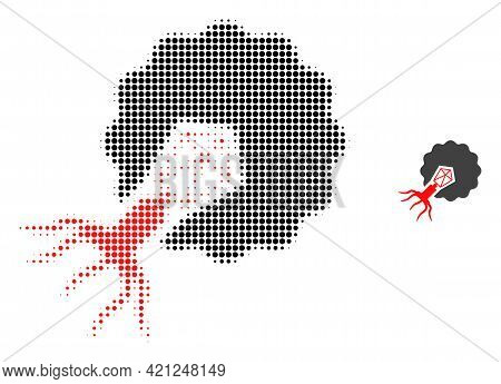Virus Infecting Cell Halftone Dotted Icon Illustration. Halftone Pattern Contains Circle Pixels. Vec