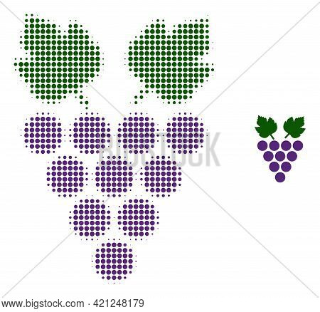 Grape Halftone Dotted Icon Illustration. Halftone Pattern Contains Round Elements. Vector Illustrati