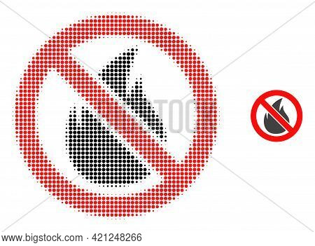 Forbidden Fire Halftone Dotted Icon Illustration. Halftone Pattern Contains Circle Elements. Vector