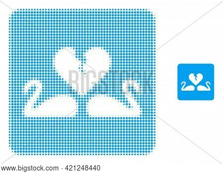 Divorce Swans Halftone Dotted Icon Illustration. Halftone Pattern Contains Circle Pixels. Vector Ill