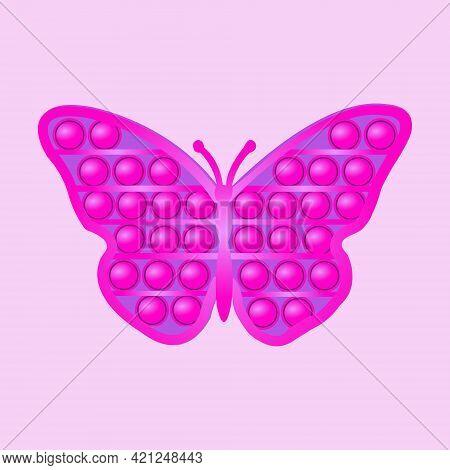 Pop It Children's Game Finger Press Balls Antistress Toy Pink Butterfly. Development Of Children Fin