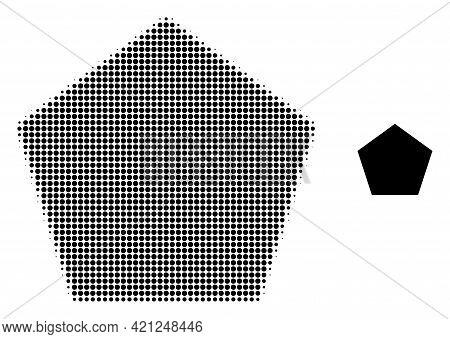 Filled Pentagon Halftone Dot Icon Illustration. Halftone Array Contains Circle Elements. Vector Illu