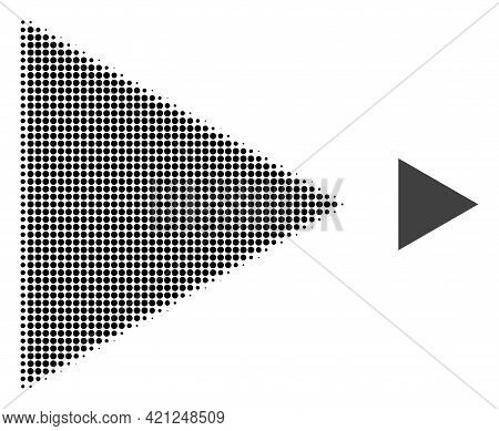 Play Function Halftone Dot Icon Illustration. Halftone Pattern Contains Circle Points. Vector Illust