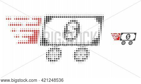 Dollar Delivery Wagon Halftone Dot Icon Illustration. Halftone Array Contains Circle Elements. Vecto
