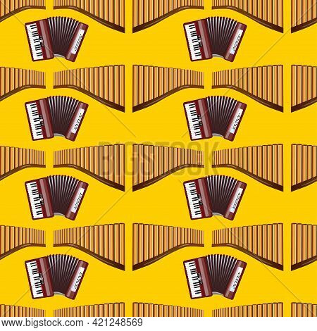Realistic Pan Flute And Accordion Isolated Seamless Pattern On Yellow Background. Traditional Peruvi