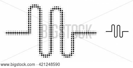 Pipeline Halftone Dot Icon Illustration. Halftone Array Contains Round Elements. Vector Illustration