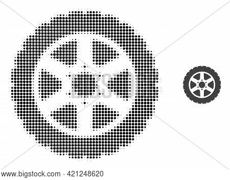 Tire Wheel Halftone Dotted Icon Illustration. Halftone Array Contains Round Points. Vector Illustrat