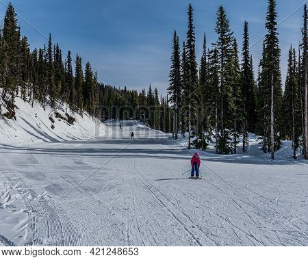 Revelstoke, Canada - March 17, 2021: People Skiing Downhill On Newly-fallen Snow Ski Resort.