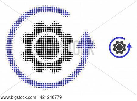 Gear Rotation Halftone Dot Icon Illustration. Halftone Pattern Contains Round Pixels. Vector Illustr