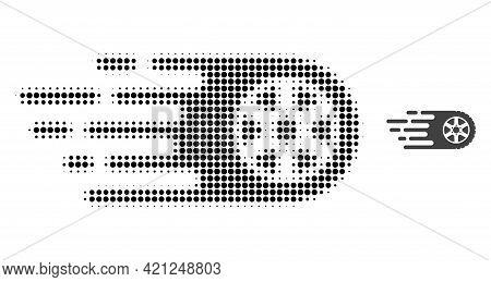Tire Wheel Halftone Dot Icon Illustration. Halftone Array Contains Circle Points. Vector Illustratio