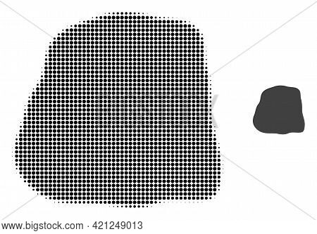 Stone Halftone Dotted Icon Illustration. Halftone Pattern Contains Circle Pixels. Vector Illustratio