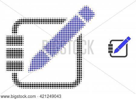 Edit Records Halftone Dot Icon Illustration. Halftone Pattern Contains Circle Pixels. Vector Illustr