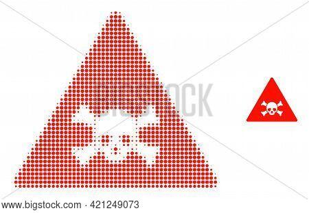 Skull Toxic Warning Halftone Dot Icon Illustration. Halftone Array Contains Circle Dots. Vector Illu