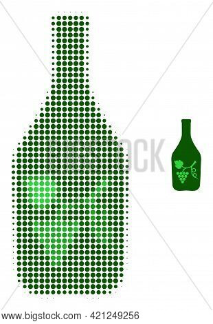 Wine Bottle Halftone Dotted Icon Illustration. Halftone Pattern Contains Circle Elements. Vector Ill