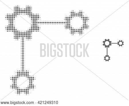 Gear Links Halftone Dot Icon Illustration. Halftone Pattern Contains Circle Dots. Vector Illustratio