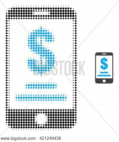 Mobile Dollar Account Halftone Dotted Icon Illustration. Halftone Array Contains Round Points. Vecto