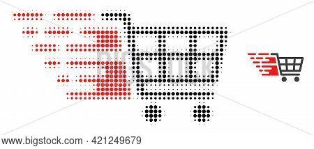 Supermarket Cart Halftone Dot Icon Illustration. Halftone Pattern Contains Round Dots. Vector Illust