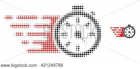 Timer Halftone Dot Icon Illustration. Halftone Array Contains Circle Pixels. Vector Illustration Of