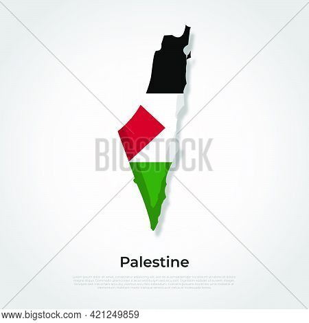 Vector Map Flag Of Palestine Isolated On White Background
