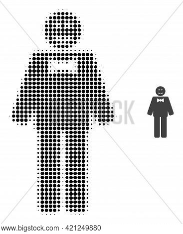 Happy Mister Halftone Dot Icon Illustration. Halftone Array Contains Round Elements. Vector Illustra