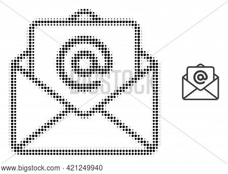 Open E-mail Halftone Dot Icon Illustration. Halftone Array Contains Round Dots. Vector Illustration