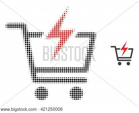 Instant Shopping Halftone Dotted Icon Illustration. Halftone Pattern Contains Round Points. Vector I