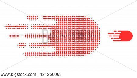Electron Flight Halftone Dotted Icon Illustration. Halftone Array Contains Circle Dots. Vector Illus