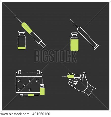Cosmetic Injection Chalk Icons Set.beauty Correction. Rejuvenation. Vaccination, Schedule. Cosmetic
