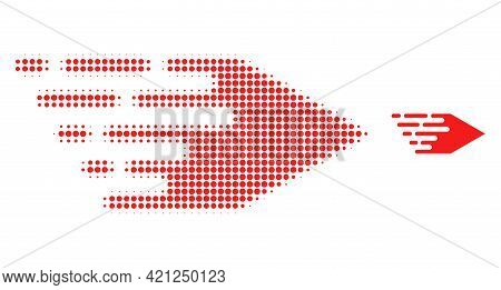 Movement Right Halftone Dotted Icon Illustration. Halftone Pattern Contains Circle Dots. Vector Illu