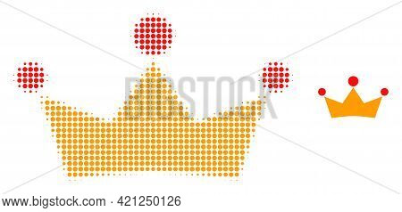 Crown Halftone Dotted Icon Illustration. Halftone Pattern Contains Circle Elements. Vector Illustrat