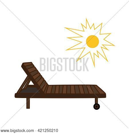 Vector Icon Of Sunny Beach With Wooden Chaise Longue For Your Design,websites And Projects. Beach Ba