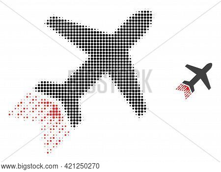 Jet Liner Halftone Dot Icon Illustration. Halftone Pattern Contains Circle Pixels. Vector Illustrati