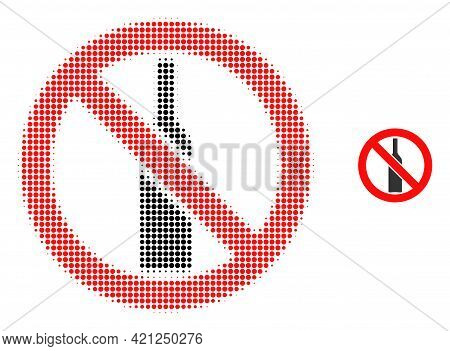 Forbidden Alcohol Halftone Dotted Icon Image. Halftone Array Contains Circle Pixels. Vector Illustra
