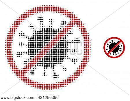 Stop Microbe Halftone Dotted Icon Illustration. Halftone Array Contains Round Pixels. Vector Illustr