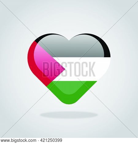 Love Palestine Symbol. Heart Flag Icon.