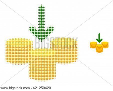 Receive Coins Halftone Dotted Icon Illustration. Halftone Pattern Contains Circle Pixels. Vector Ill
