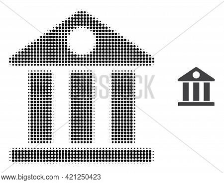 Museum Halftone Dotted Icon Illustration. Halftone Pattern Contains Circle Points. Vector Illustrati