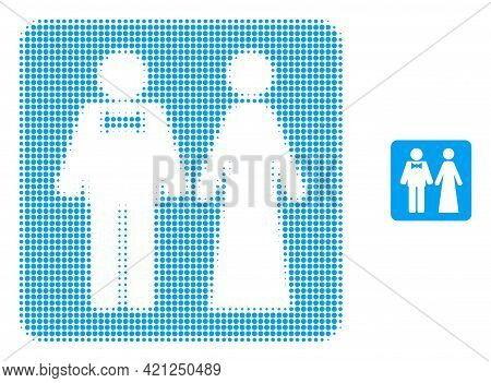 Just Married Persons Halftone Dot Icon Illustration. Halftone Pattern Contains Round Elements. Vecto