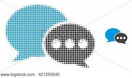 Forum Messages Halftone Dot Icon Illustration. Halftone Array Contains Circle Points. Vector Illustr