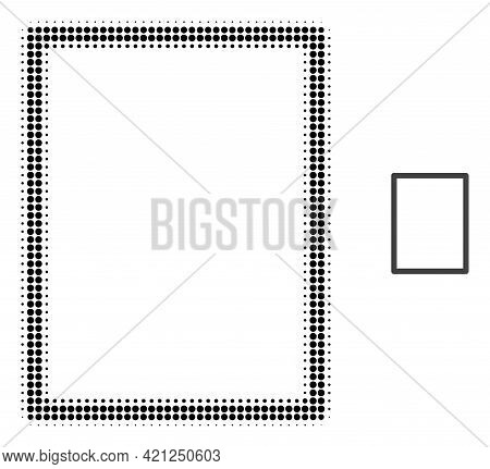 Empty Page Halftone Dotted Icon Illustration. Halftone Array Contains Circle Pixels. Vector Illustra